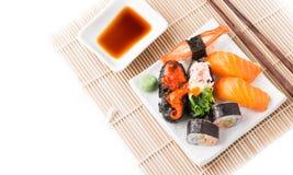 Mix Sushi on white dish isolated Stock Image