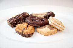 Mix of sweet cookies close-up. On white plate Royalty Free Stock Photography