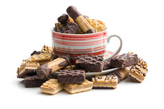 Mix of sweet cookies in coffee mug Royalty Free Stock Photography