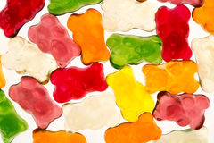 Mix of Sweet jelly bears candies isolated on white Stock Image
