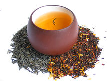 A mix tea with cup of tea Royalty Free Stock Image