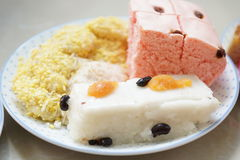 Mix Thai desserts in dish Royalty Free Stock Photo