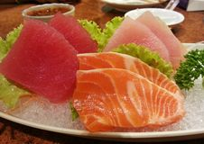 Mix three sashimi, Japanese food, Japan Royalty Free Stock Images
