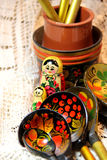 Mix of traditional Russian Souvenirs Stock Photos
