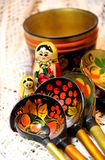Mix of traditional Russian Souvenirs Stock Photo