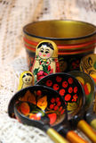 Mix of traditional Russian Souvenirs Royalty Free Stock Photography