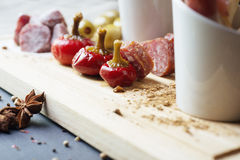 Mix of traditional spanish ham, salami, parma ham Stock Image