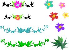 Mix of Tropical Flowers and Designs Royalty Free Stock Image