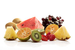 Mix tropical fruit. Mix tropical, watermelon, pineapple, tangerine and berry fresh fruit Stock Image