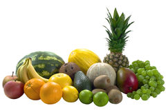 Mix Tropical Fruits. Mix differend tropical fruits isolated on white backgrounds stock photos
