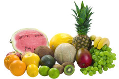 Mix Tropical Fruits. Mix differend tropical fruits isolated on white backgrounds royalty free stock image