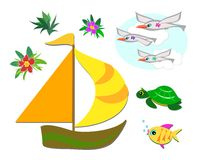 Mix of Tropical Images. Here is a mix of tropical images including sea gulls, turtle, fish, boat, and plants Stock Photos