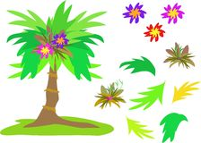 Mix of Tropical Palms, Flowers and Leaves Stock Photography