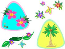 Mix of Tropical Plants and Butterflies Stock Images