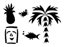 Mix of Tropical Silhouettes Stock Image