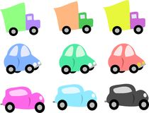 Mix of Trucks and Cars Royalty Free Stock Photo