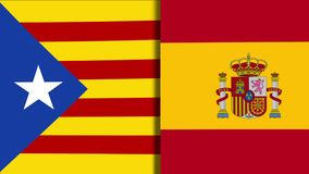 Catalonia And Spain Flags. Mix of Two Realistic Waving Flags of The Catalonia And The Spain. The Catalan Independence Referendum - 4K Animation stock video