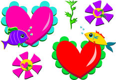 Mix of Valentine Fish and Hearts. Here is a group of colorful fish, hearts, and plants Stock Image