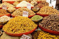Mix of various dried fruits on sale Stock Photo