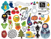 Mix of vector images. Royalty Free Stock Photo