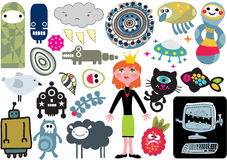 Mix of vector images and icons. vol.15. Mix of different vector images and icons royalty free illustration