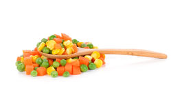 Mix of vegetable. Containing carrots, peas, and corn on white background royalty free stock image