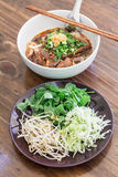 Mix vegetable and rice noodles with spicy pork sauce (nam ngiao) Royalty Free Stock Images