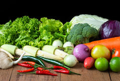 Mix vegetable on wood table. Vegetable on wood table, Raw food Royalty Free Stock Photography