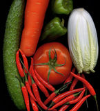 Mix vegetables. Mix of fresh vegetables on black background from the top Royalty Free Stock Photos