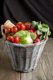 Mix of vegetables in basket Royalty Free Stock Photo
