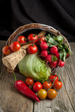Mix of vegetables from basket Royalty Free Stock Image
