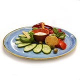 Mix of vegetables on blue plate. Stock Photography