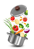 Mix vegetables falls in a pot Royalty Free Stock Images