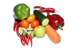 Mix vegetables isolated on white. Background Stock Photos
