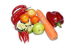 Mix vegetables isolated on white. Background Royalty Free Stock Photography