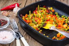 Mix of vegetables with red beans and chili Royalty Free Stock Images