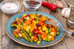 Mix of vegetables with red beans and chili Stock Photography
