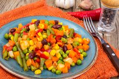 Mix of vegetables with red beans and chili Stock Photo