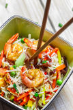 Mix vegetables with rice and shrimp Royalty Free Stock Image