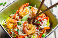 Mix vegetables with rice and shrimp Stock Photography