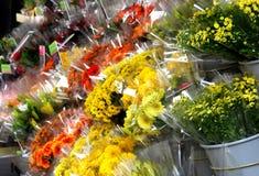 Mix of vivid fresh beautiful flowers. Mix of vivid  fresh beautiful flowers selling outside Stock Photos