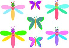 Mix of Whimsical Dragonflies and Butterflies Stock Images