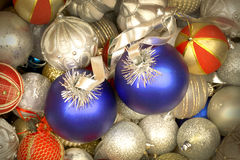 Mix of white, blue and golden red Christmas balls Stock Photography