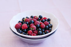 Mix of wild raspberry and black currant in bowl Royalty Free Stock Image