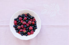 Mix of wild raspberry and black currant in bowl Royalty Free Stock Photo