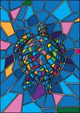 Turtle Stained glass and Multicolored glass stock illustration
