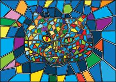 Cat stained glass and Multicolored glass vector illustration