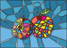 Apple red Stained glass stock illustration