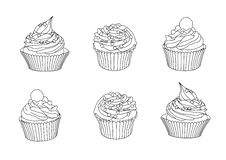 Line cupcakes on white background vector illustration