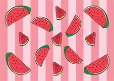 Watermelon red Wrapping paper and Wale Design pattern background stock illustration